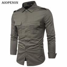 AIOPESON New Shirt Men Brand Clothes Long Sleeve Fashion Tactical Military Shirt Male Casual Social Shirt Men EUR Size M-XXL