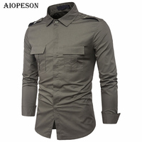 AIOPESON New Shirt Men Brand Clothes Long Sleeve Fashion Tactical Military Shirt Male Casual Social Shirt