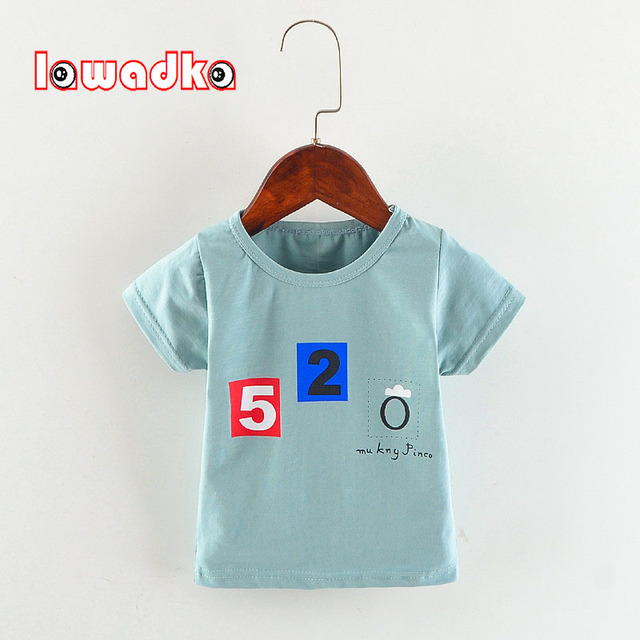 Cotton Baby t-shirt Short Sleeve Baby Boy Summer Clothes Fashion Letter Pattern Baby Boy 1 Year Birthday Clothes O-neck t Shirt