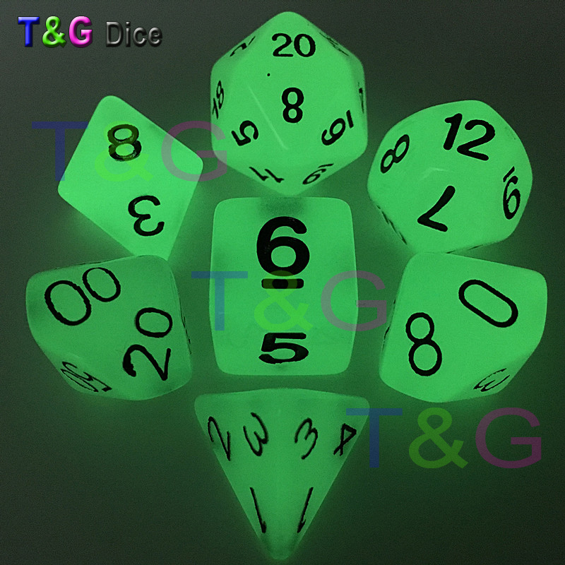 Wholesales 7pc/lot Glow In The Dark RPG Digital Dice Set D4,d6,d8,d10,d10%,d12,d20 For Board Game Orange,purple,blue,light Green