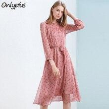 Onlyplus Outono Vestido de Chiffon Impresso Mulheres Elegantes A Linha de Vestido de Férias Vestidos De Grife Pista 2018 Vestidos de Alta Qualidade