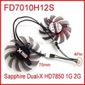 Free Shipping 2pcs/lot Firstdo FD7010H12S DC 12V 0.35A 75mm For Sapphire Dual-X HD7850 1G 2G Graphics Card Fan 4Pin Cooling Fan