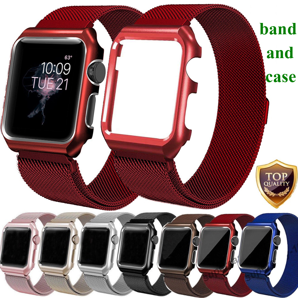 EIMO Milanese Loop Strap + Watch Case For Apple Watch band 42mm 38mm Stainless Steel Link Bracelet Wrist Watchbands iwatch 3/2/1 idg for apple watch 1 2 3 stainless steel milanese strap metal loop wrist band 38 bracelet 42mm watch protective case box frame