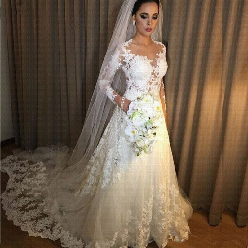 2020 New Beach Vestido De Noiva A Line Lace Cheap Wedding Dress See Through Back Sexy Long Sleeves Robe De Mariage Bridal Gowns