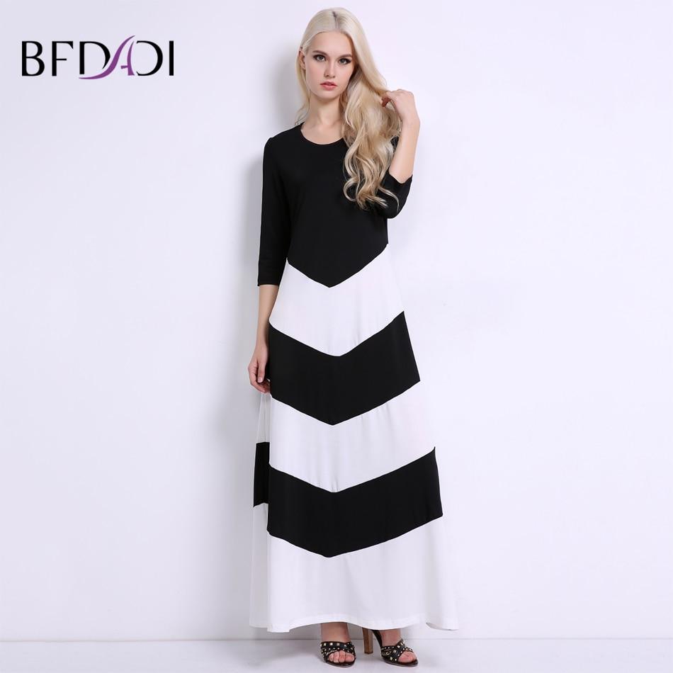 BFDADI női fekete-fehér csíkos alkalmi hosszú ruha 2019-es nyári - Női ruházat