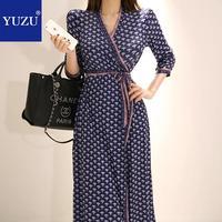 Vintage Floral Print Maxi Wrap Dress 2019 Korean Style Fashion Gypsy V neck Lace Up Long Sleeve Bandage party office dresses