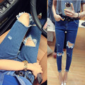 summer women fashion cool ripped hole jeans lady casual sexy  hole jeans