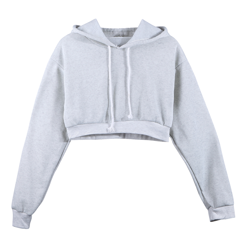 Fashion Women Sweatshirt 2019 Hot Sale Hoodies Solid Crop Hoodie Long Sleeve Jumper Hooded Pullover Coat Casual Sweatshirt Top(China)