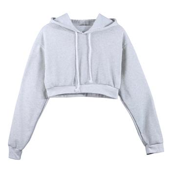 6a297f12b Fashion Women Sweatshirt 2018 Hot Sale Hoodies Solid Crop Hoodie Long  Sleeve Jumper Hooded Pullover Coat Casual Sweatshirt Top