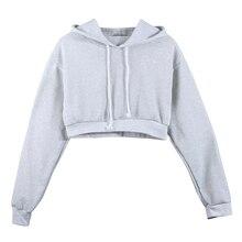 Fashion Women Sweatshirt 2019 Hot Sale Hoodies Solid Crop Hoodie Long Sleeve Jumper Hooded Pullover Coat Casual Sweatshirt Top серьги цепочки со снегирями