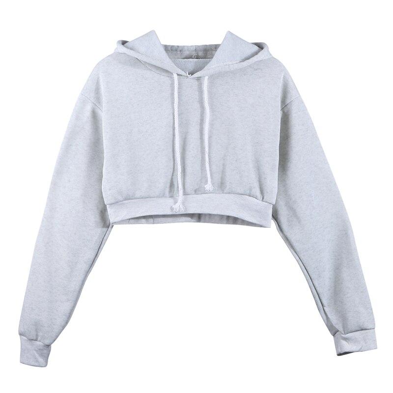 Fashion Women Sweatshirt 2019 Hot Sale Hoodies Solid Crop Hoodie Long Sleeve Jumper Hooded Pullover Coat Casual Sweatshirt Top