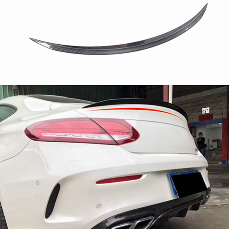 For <font><b>Mercedes</b></font> C Class W205 Spoiler Carbon Fiber Rear Trunk Spoiler wing C200 C250 <font><b>C300</b></font> C180 C350 <font><b>Coupe</b></font> 2 Door Car 2015 - UP image