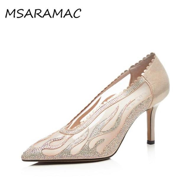 380d7177db4 Elegant Chamgagne See-thru Mesh Beading Lady Pumps Fashion Ruffles Wedding  Shoes Bridal Shoes