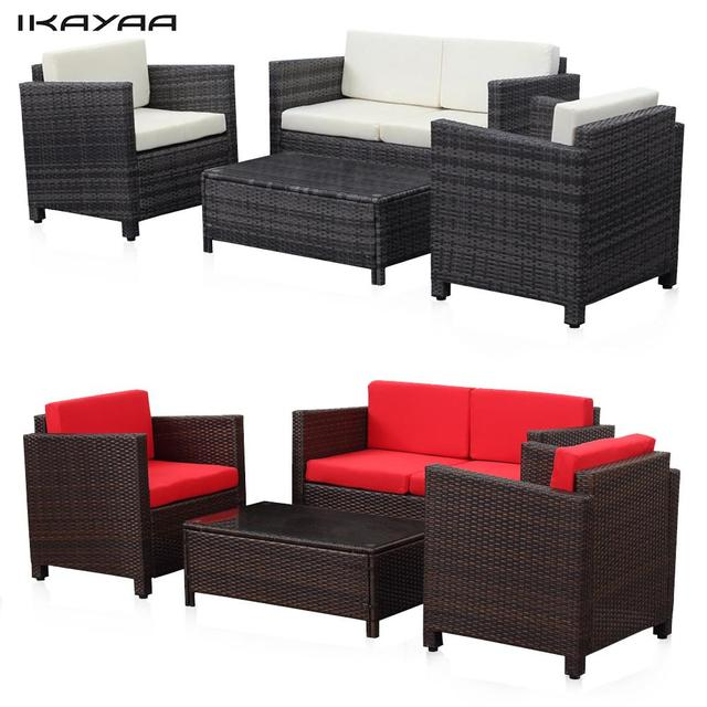 iKayaa 4PCS Cushioned Rattan Outdoor Patio Furniture Set Garden Sofa Couch Set Wicker Weave 2 Single Sofa Table DE Stock