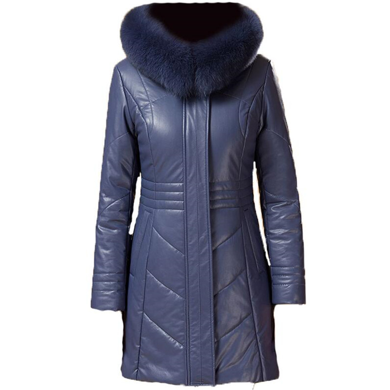 Plus Size Winter Warm Parkas For Women 4XL 5XL Fur Hooded Leather Overcoat Female Large Size Thicken Down Cotton Coat Ds50277