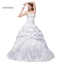 ruthshen Cheap Wedding Dresses Under 100 Strapless Pleats Sequins Beaded White Ivory Bridal Gowns Robe De Marriage