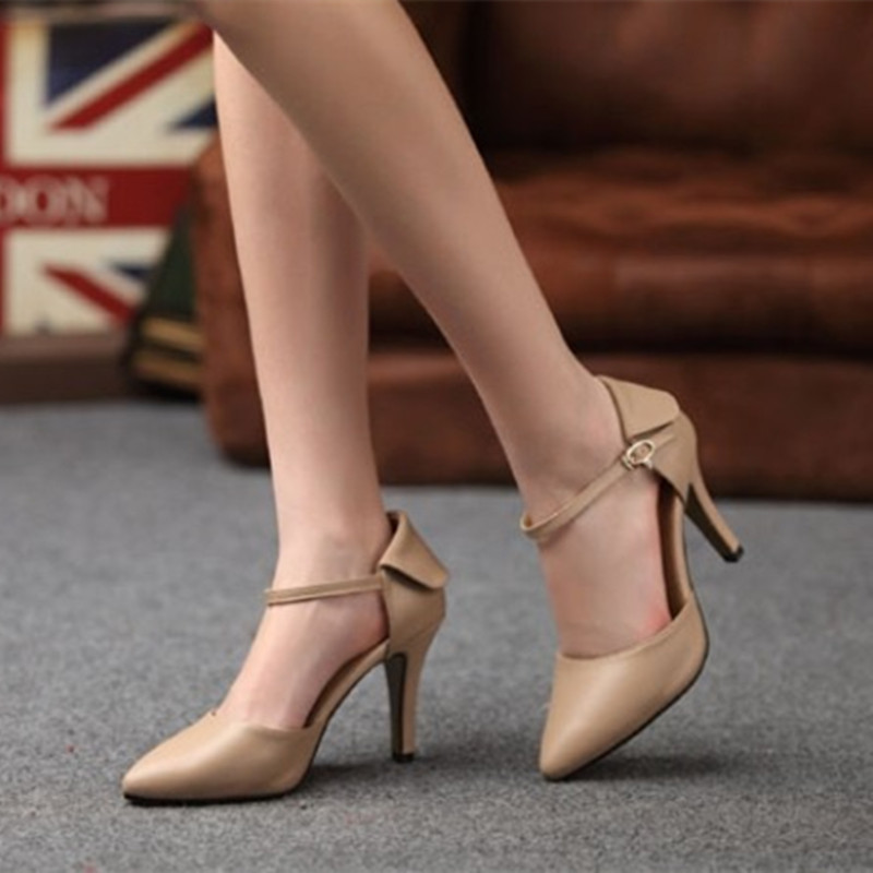 ФОТО Women's customized Elegant fashion full genuine real leather Single high heels pointy shoes Buckle strap Sandalias Kvoll OL