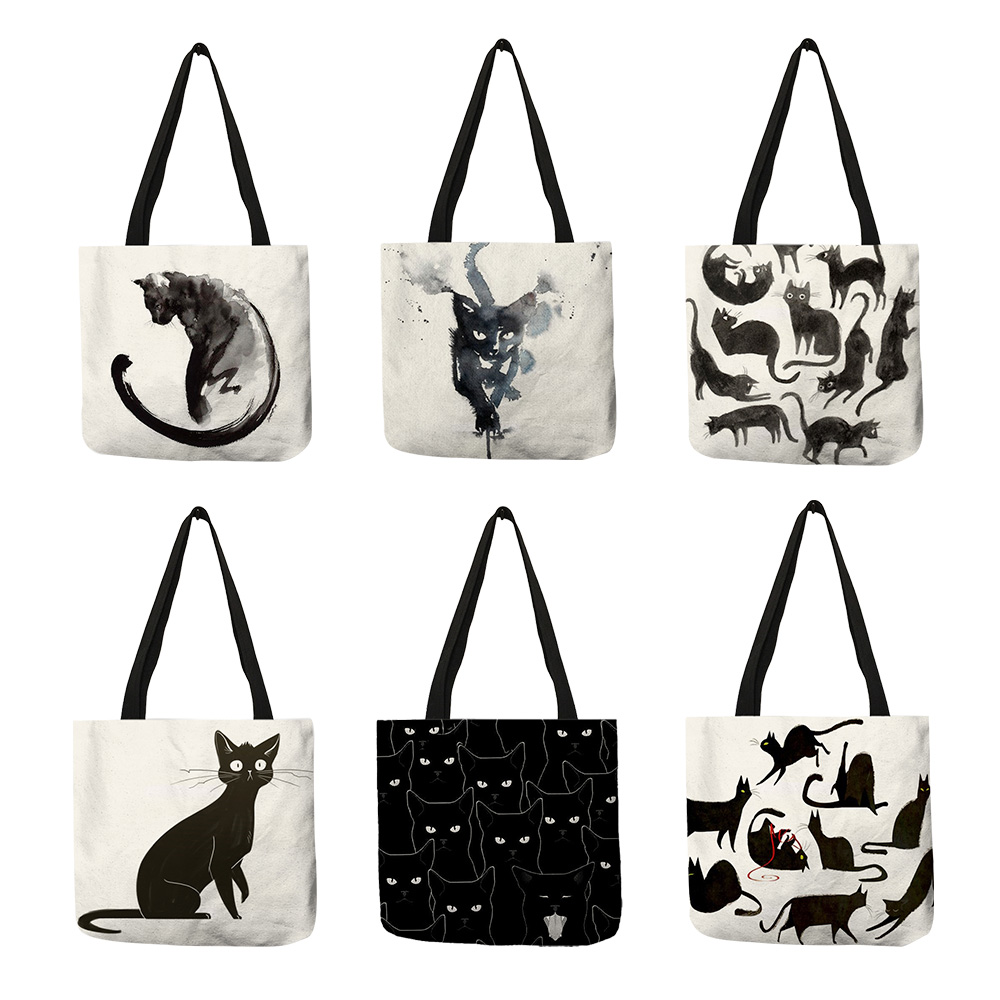 New Lady Tote Bags Sumi Black Cat Printed Linen Fabric Eco-friendly Handbag Shopping Office Reusable Casual Shoulder Bag