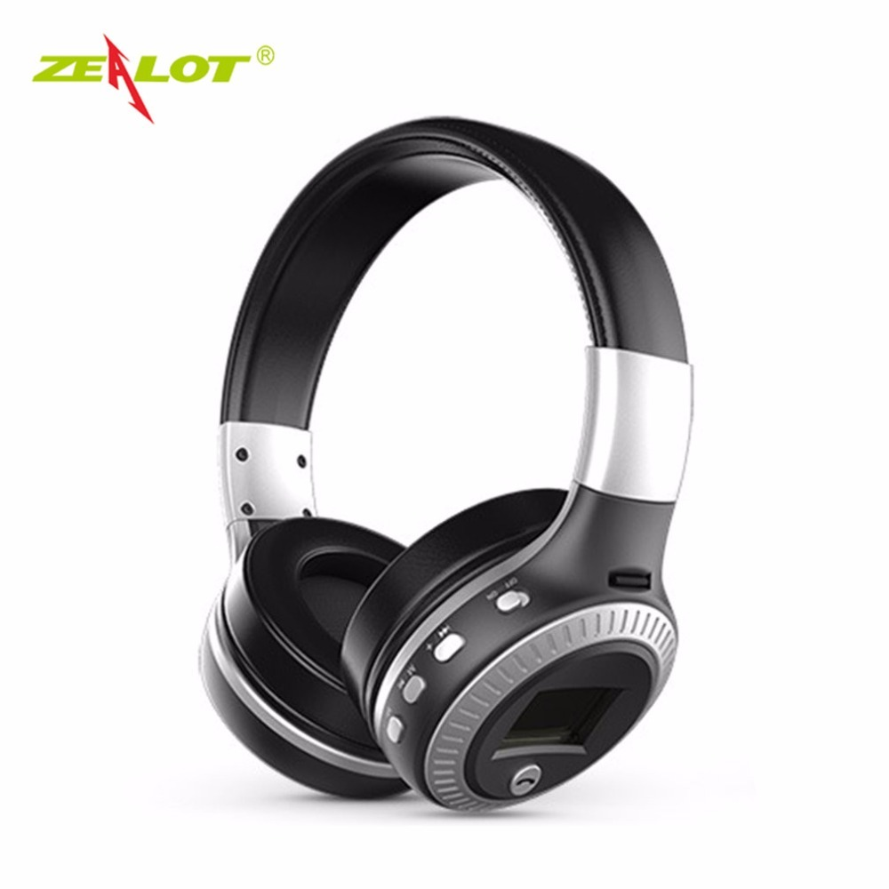 ZEALOT Bluetooth Headphones LCD Display Wireless Stereo Headsets Headphone With Mic Micro-SD Card Slot FM Radio For Phone economic set original nia 8809s 8 gb micro sd card a set wireless headphone sport for tv with fm