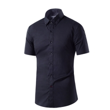 New Slim Fit Striped Black Cotton Casual Shirt Men's Social Dress Shirt Short Sleeve Turn Down Collar Standard US Size