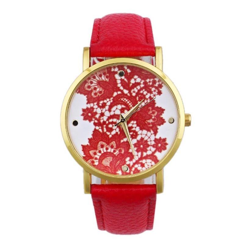 Women Round Lace Printed Watch Faux Leather Quartz Analog Simple Lady Dress Wrist Watch Newest Flower Printed Watches Gift F2283 faux leather analog wrist watch