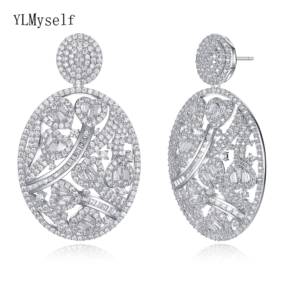 Luxury oval drop earring White/Gold color heart romantic wedding jewelry cubic zirconia jewellery large earrings for bridal