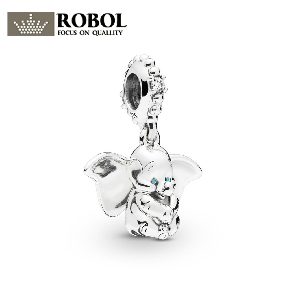 ROBOL 100% 925 Sterling Silver New 2019 Spring 797849CZ DUMBO DANGLE CHARM Fit DIY Bracelet Necklace Fashion Jewelry GiftROBOL 100% 925 Sterling Silver New 2019 Spring 797849CZ DUMBO DANGLE CHARM Fit DIY Bracelet Necklace Fashion Jewelry Gift