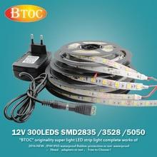 NEW 12V 5m 300LED 2835 3528 5050 LED strip light Flexible lamp 12V 2A 5A Adapter 24 44 key RGB Remote control tape waterproof