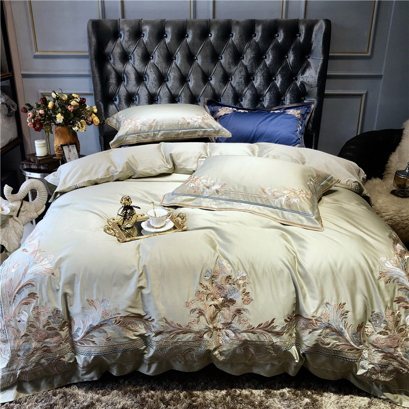 Champagne Blue White Luxury Royal Embroidery 100S Egyptian Cotton Palace Bedding Set Duvet Cover Bed Sheet/Linen Pillowcases