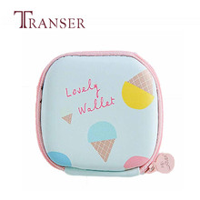 TRANSER Women Girls Cute Cartoon Zipping Wallet Portable Mini Round Storage Case Bag for Earphone Headphone Cards Storage Bag(China)