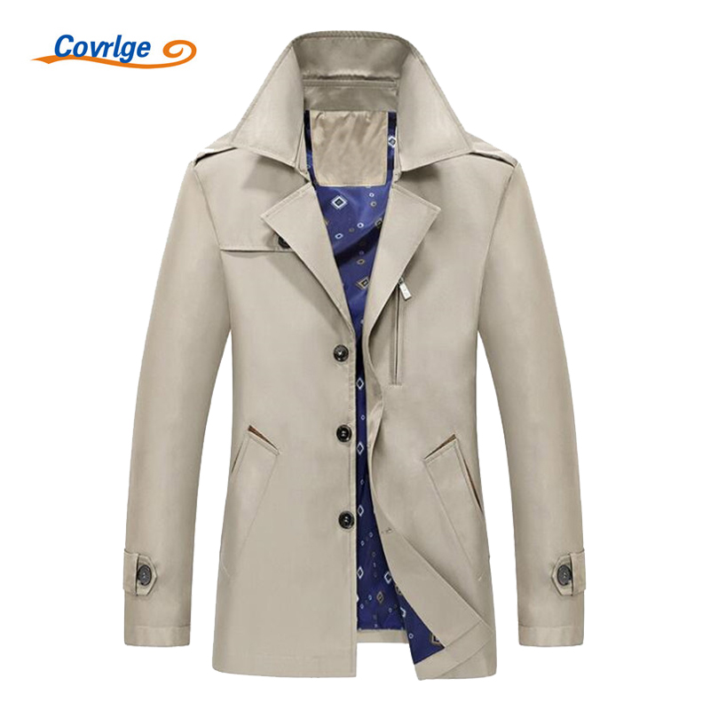 Covrlge Men's Trench Coat 2017 Fashion Casual Autumn Long Windbreaker Turn-down Overcoat Plus Size Classic Trenchcoat MWF004