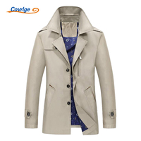 Covrlge Men's Trench Coat 2019 Fashion Casual Autumn Long Windbreaker Turn down Overcoat Plus Size Classic Trenchcoat MWF004