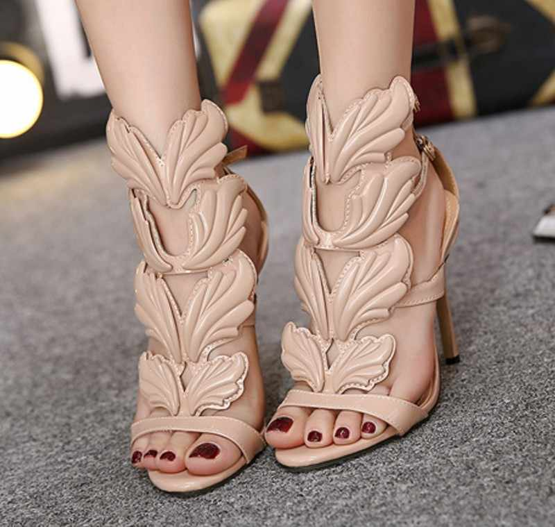 2018 new summer sandals Rome Street pat wings flame high heels leaf wedding shoes high quality pump women shoes
