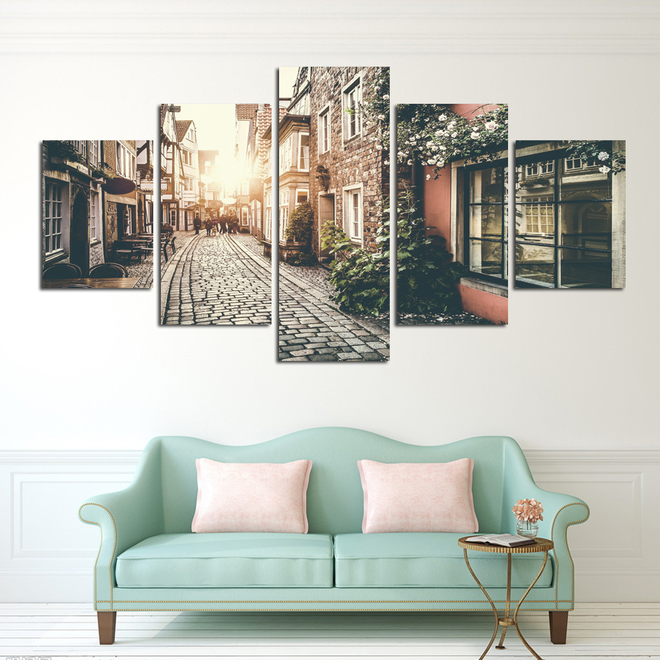 5 Piece Canvas Painting Hd City Street Landscape Paintings Prints For Modern Living Room Bedroom