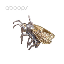 Two Tone 925 Sterling Silver Honey Bee Pendant Gold Wings for Men Women Free Shipping