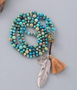 Image 3 - Women Boho Necklaces Natural Stone Antique Charm Beads Necklace Luxury Handmade Beaded Women Elegant Yoga Necklace