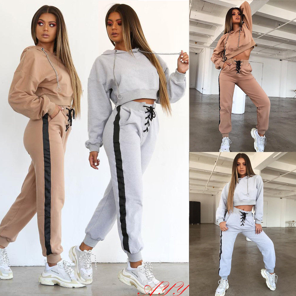 Hirigin Two Piece Set Women Tracksuit Metal Chain Crop Top Hoodies Top And High Waist Bandage Pants Women Outfits Autumn Clothes