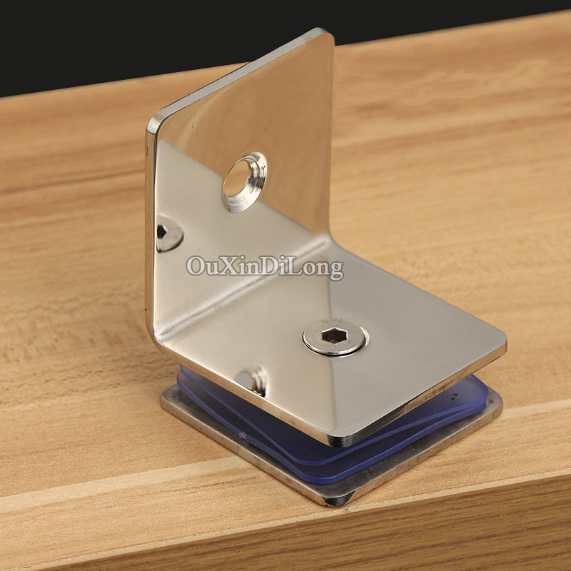 HOT 8PCS/lot 304 Stainless Steel Frameless Shower Glass Clamps 90 Degree Wall to Glass Fixed Holder Brackets for 8-12mm Glass dhl free shipping 10 pcs 304 stainless steel casting extra thick heavy duty wall mount frameless wall to glass clamps