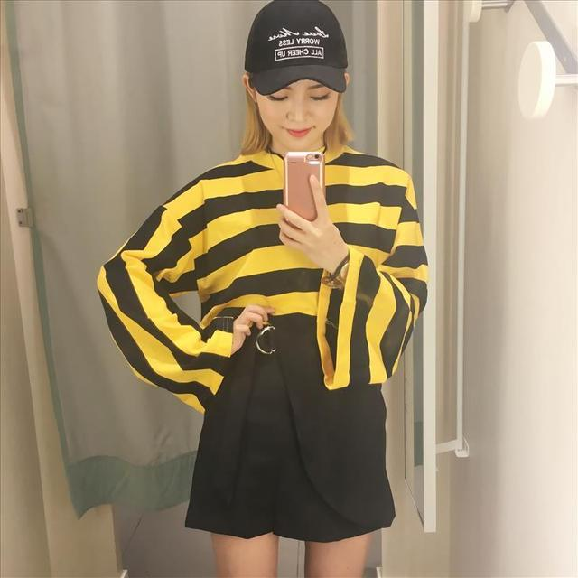 fc81984e35 spring autumn black yellow honey bee striped t shirt women tops flare  sleeve tee shirt femme chemisier camiseta feminna camisa