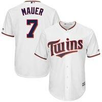 MLB Men S Minnesota Twins Joe Mauer Baseball Home White Official Cool Base Replica Player Jersey