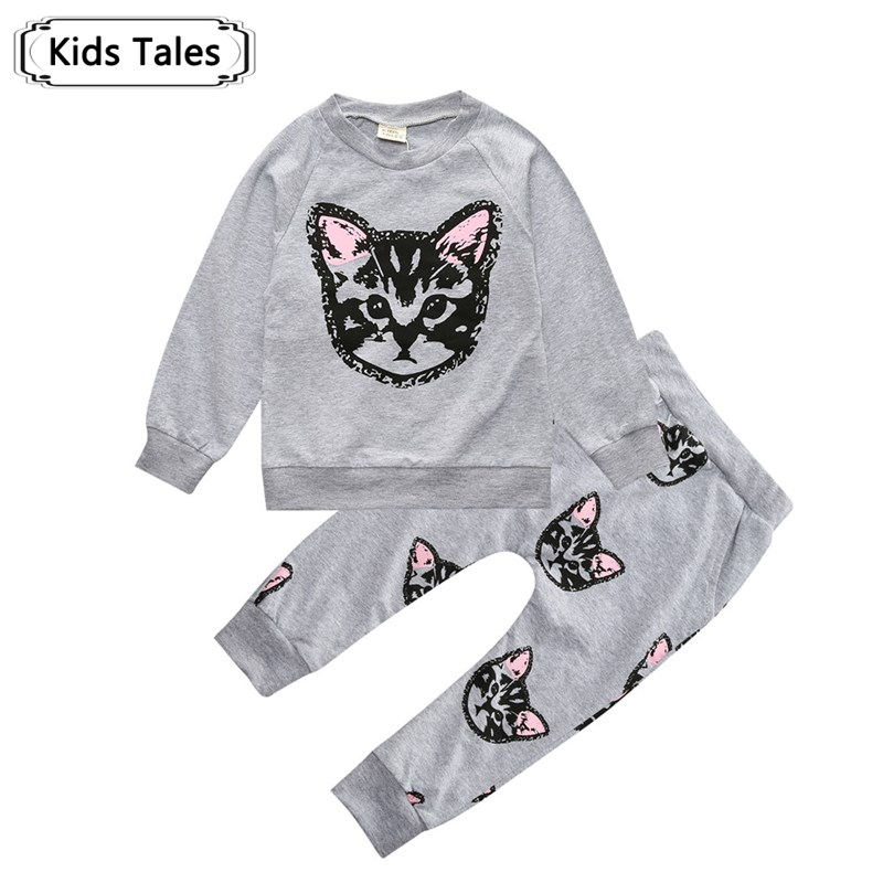Spring Children's Clothing Clothing sets Cotton Cute Cat 2 pcs. (With Long Sleeves + Pants) girl clothes free shipping ST259 brand cute toddler girl clothes rainbow color sling 2 pcs baby girl clothing sets for 6m 3y free shipping