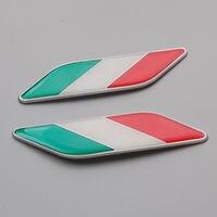 2Pcs Car Auto 3D Aluminum Italy Italian Flag Fender Emblem Badge Decal Sticker