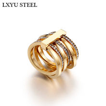 New Cubic Zirconia Rings For Women Size 6-9 Bulgaria Gold / Silver Six Layers Finger Rings Femme Engagement Wedding Rings(China)