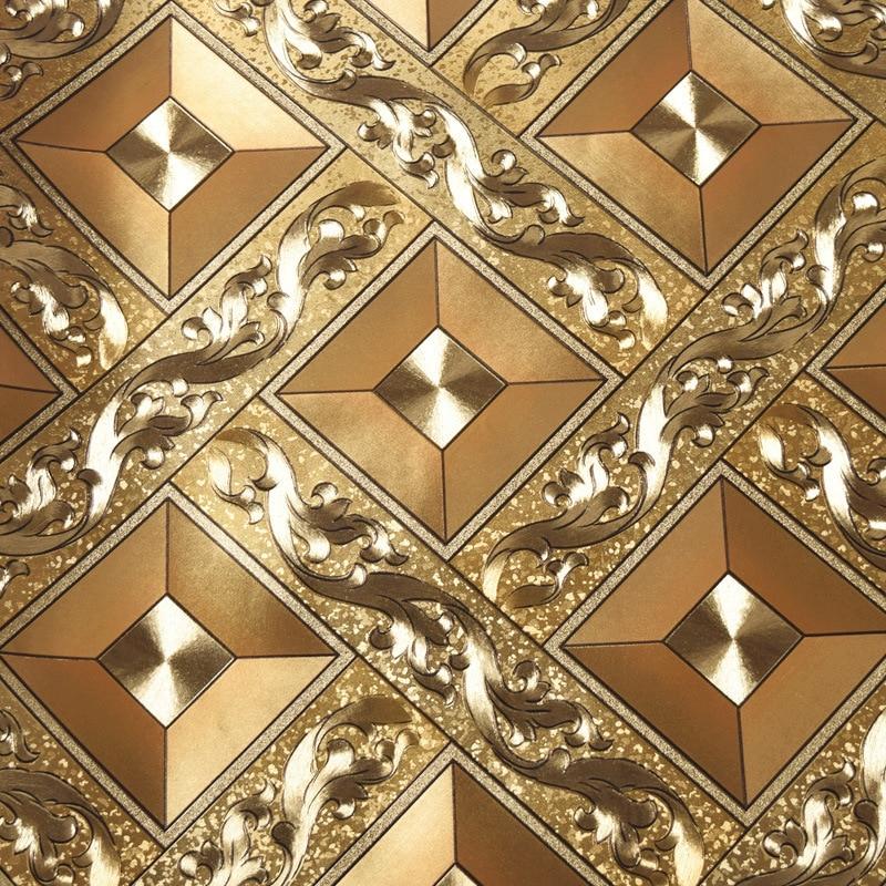 beibehang Simple gold foil golden yellow diamond lattice glowing wallpaper KTV living room bar aisle ceiling roof wallpaper