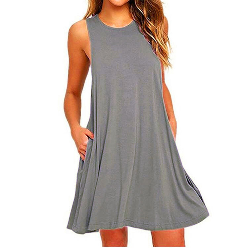 Casual Loose Summer Women Mini Dress New Fashion O-Neck Sleeveless Ikeacasa, Free Shipping