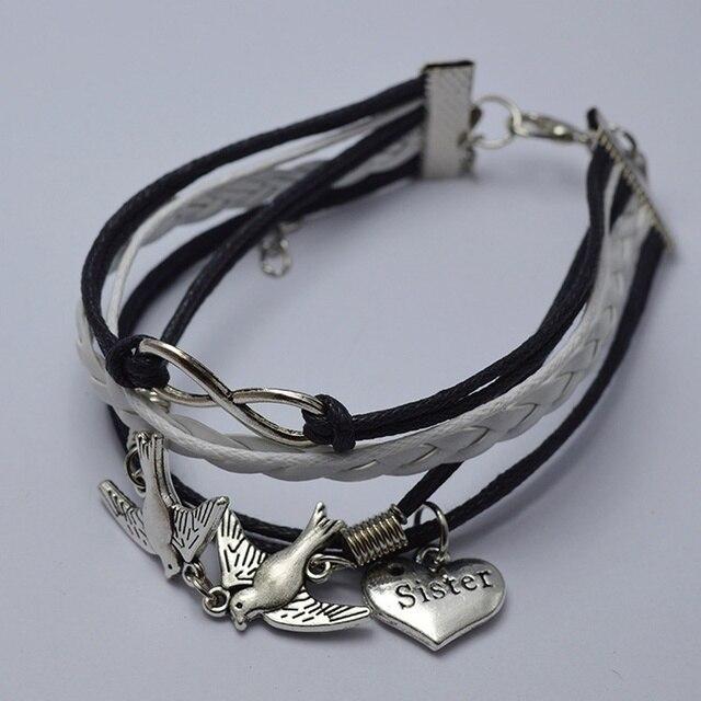 Mode Ton Argent Colombe de Paix Infinity Charm Bracelet Sœur Charme Noir  Blanc En Cuir Bracelet