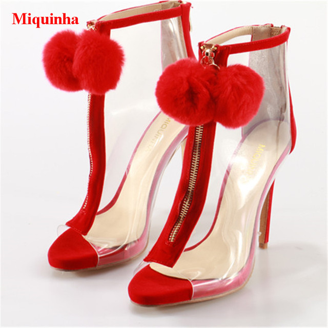 42959d54e36 Red Lovely Faux Fur Pompom Embellished Fashion Women Booties Peep Toe  Platform High Heels Ankle Boots Gladiator Sandals Boots