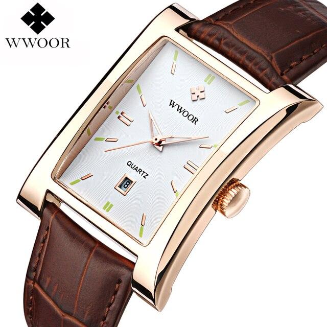 5860283aaf6 2016 Nova Marca de Luxo WWOOR Relógios Masculino Relógio de Quartzo relógio  de Pulso dos homens