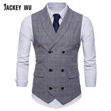 JACKEYWU брендовый мужской жилет в английском стиле, маленький клетчатый двубортный жилет, деловой костюм, свадебный жилет серого цвета