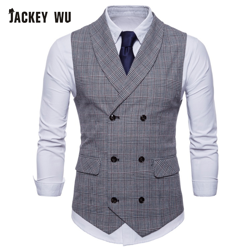 JACKEYWU Brand Vest Men England Style Small Plaid Double Breasted Waistcoat Business Social Formal Dress Suit Gilet Wedding Gray